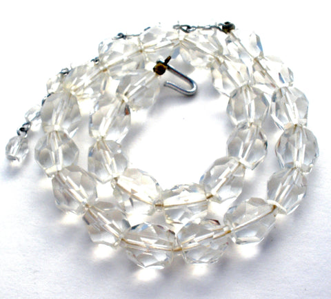 Vintage Clear Crystal Quartz Bead Necklace 16""