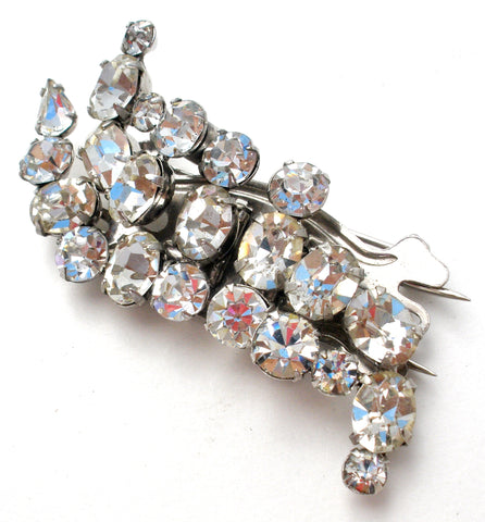 Vintage Clear Rhinestone Duette Clip Brooch