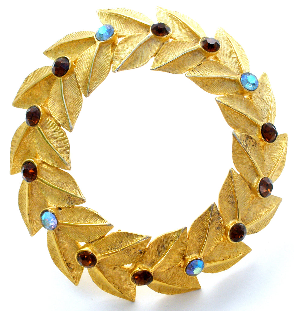 Hattie Carnegie Wreath Brooch Vintage - The Jewelry Lady's Store