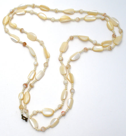 Vintage Mother Of Pearl Bead Necklace 52""