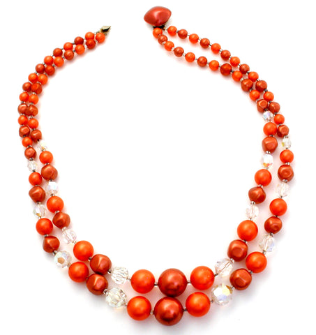 Vintage Orange Bead Necklace Double Strand