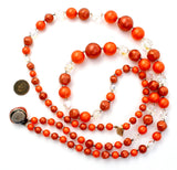 Vintage Orange Bead Necklace Double Strand - The Jewelry Lady's Store
