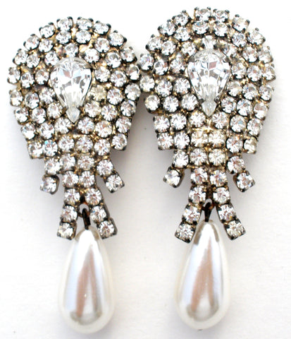 Vintage Pearl & Clear Rhinestone Earrings