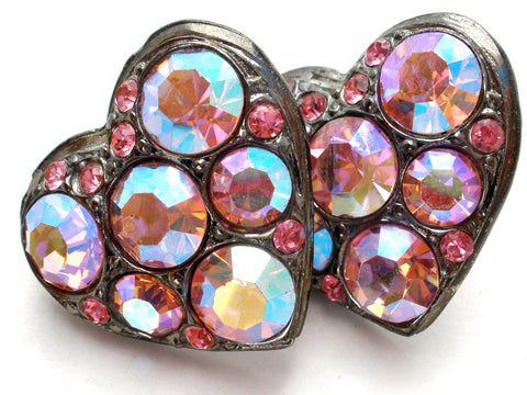 Vintage Pink Ab Rhinestone Heart Earrings