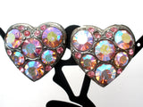 Vintage Pink Ab Rhinestone Heart Earrings - The Jewelry Lady's Store