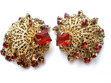 Vintage Red Rhinestone Clip Earrings - The Jewelry Lady's Store