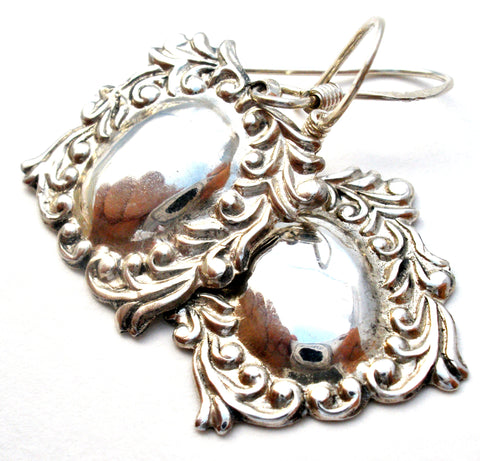 Vintage Spoon Style Dangle Earrings 925