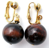 Vintage Tiger's Eye Bead Dangle Earrings - The Jewelry Lady's Store