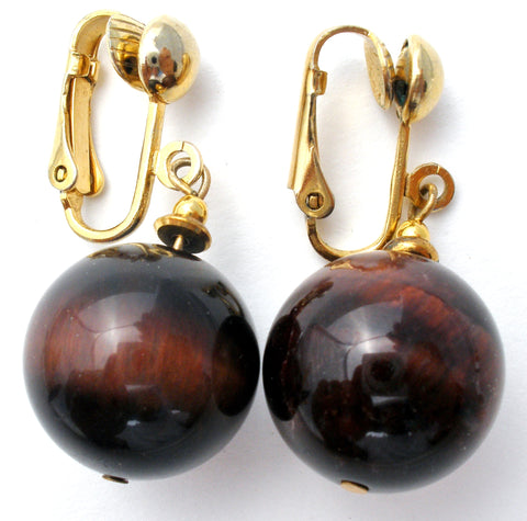 Vintage Tiger's Eye Bead Dangle Earrings