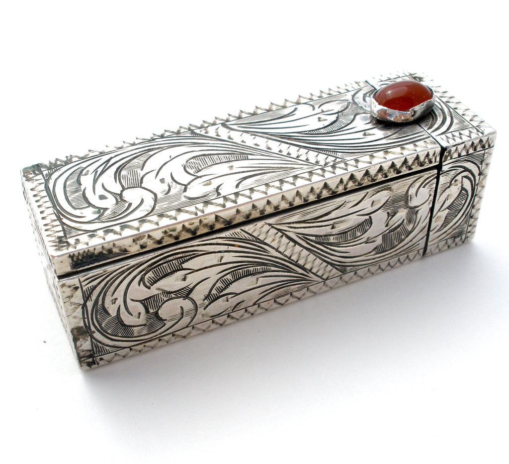 Vintage 800 Silver Engraved Lipstick Holder - The Jewelry Lady's Store