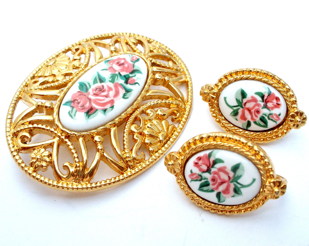 Vintage Avon Pink Rose Brooch & Earrings Set - The Jewelry Lady's Store