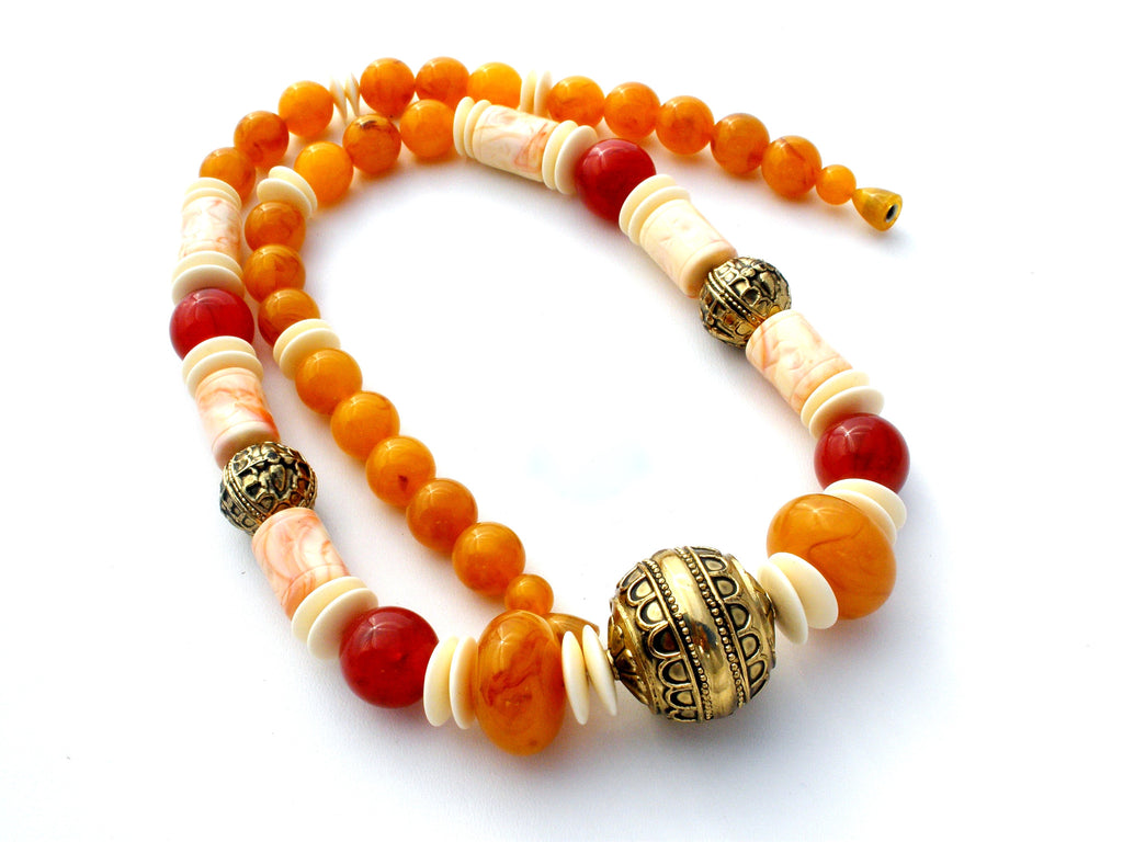 Vintage Bead Necklace Faux Amber & Bone - The Jewelry Lady's Store