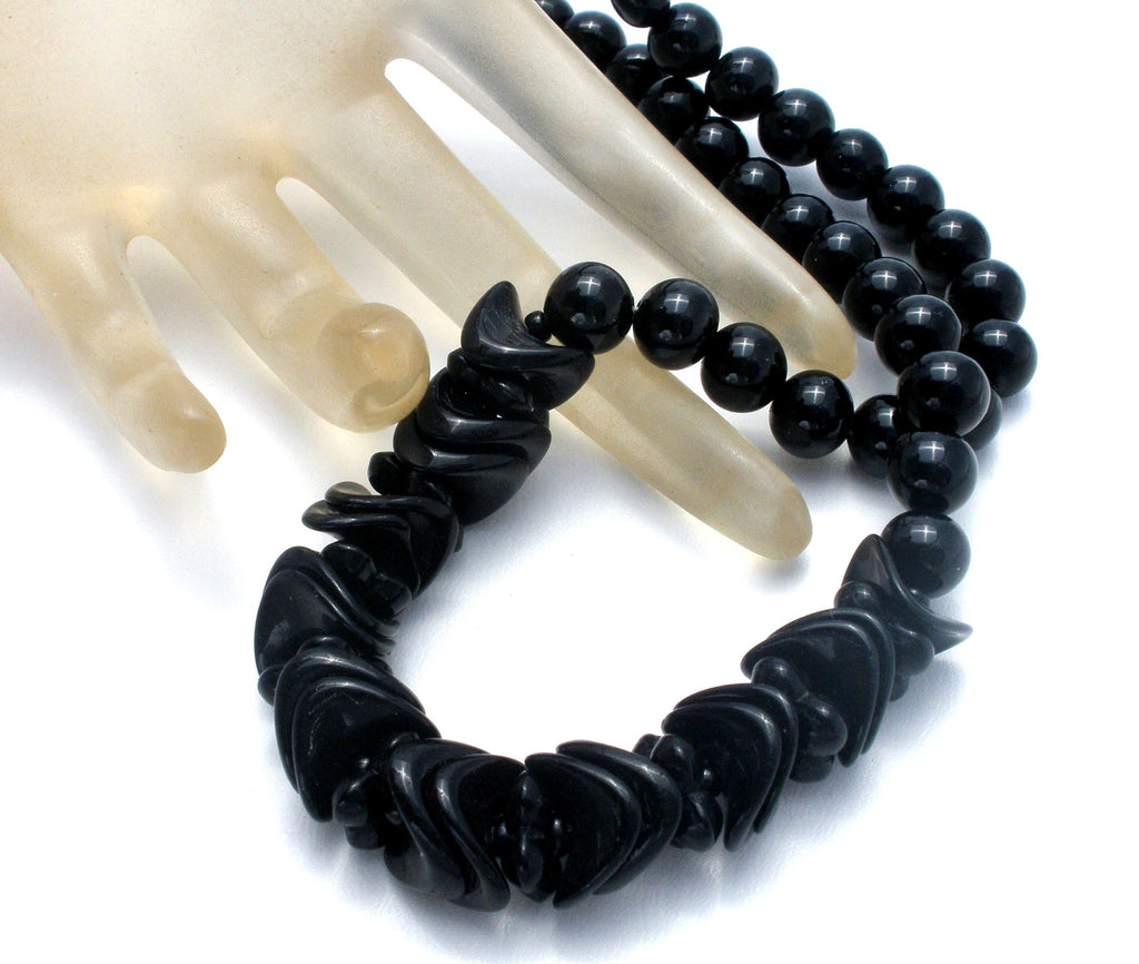 "Vintage Black Glass Bead Necklace 19"" - The Jewelry Lady's Store"