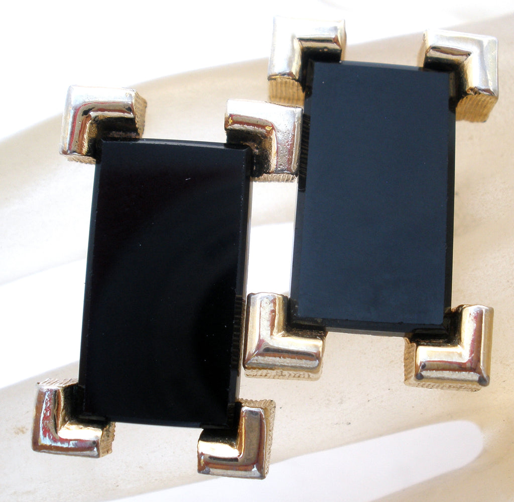 Vintage Black Onyx Cufflinks by Sarah Coventry - The Jewelry Lady's Store