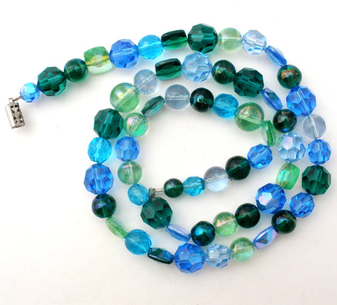 Vintage Blue & Green Glass Bead Necklace 25""