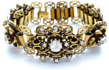 "Vintage Bookchain Clear Rhinestone Bracelet 7.25"" - The Jewelry Lady's Store"