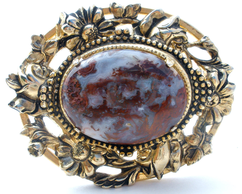 Vintage Brown Moss Agate Gold Brooch Pin - The Jewelry Lady's Store