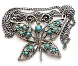 "Vintage Butterfly Blue Turquoise Necklace 19"" - The Jewelry Lady's Store"