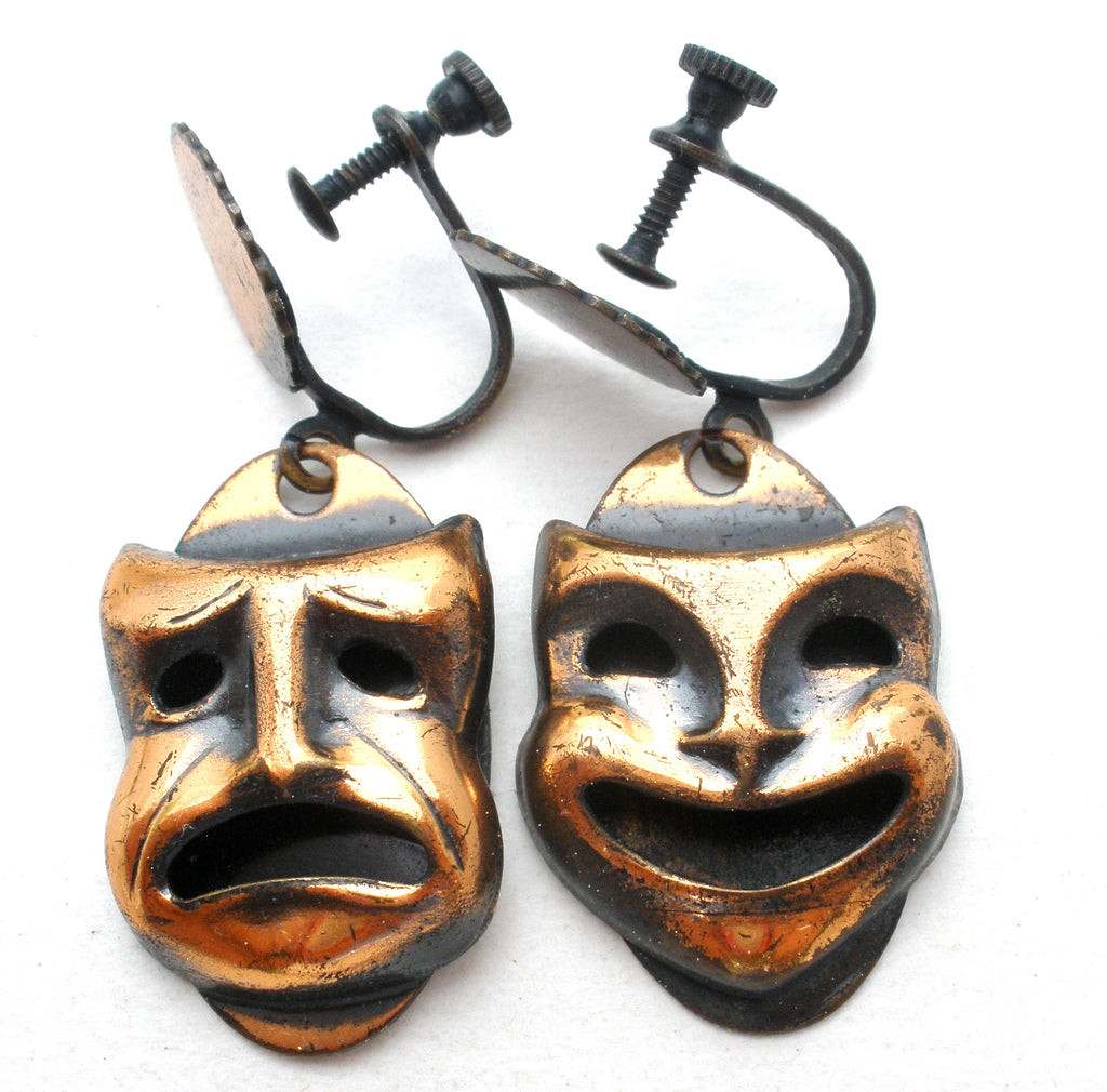 Vintage Copper Comedy & Tragedy Earrings - The Jewelry Lady's Store