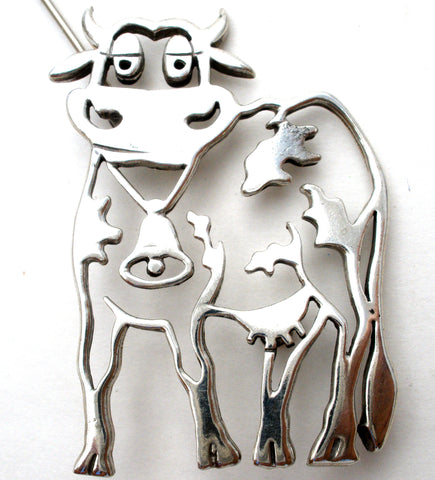 Vintage Cow Brooch Pin by Frank Chavez