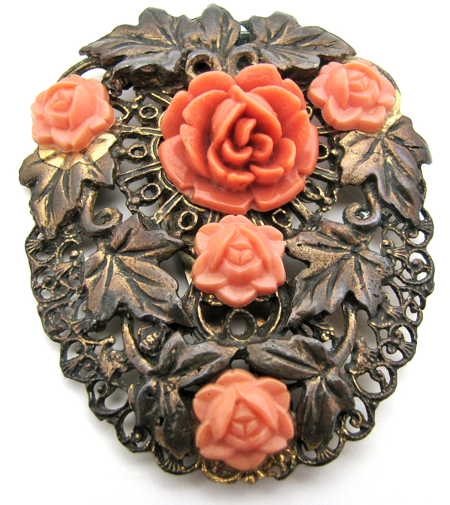Vintage Dress Clip with Orange Celluloid Roses - The Jewelry Lady's Store