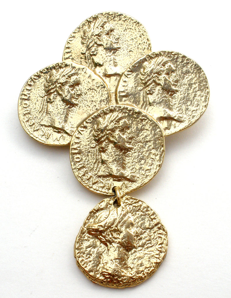 Vintage Gold Coin Brooch Pin by M Jent - The Jewelry Lady's Store
