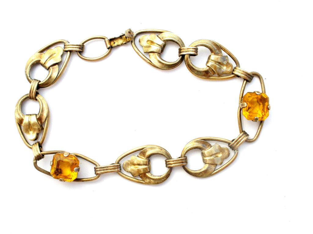 Vintage Gold Filled Sterling Silver Rhinestone Bracelet - The Jewelry Lady's Store