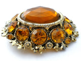 Vintage Citrine Rhinestone Set Brooch & Earrings - The Jewelry Lady's Store