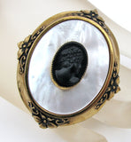 Vintage Mother of Pearl Black Cameo Brooch Pin - The Jewelry Lady's Store