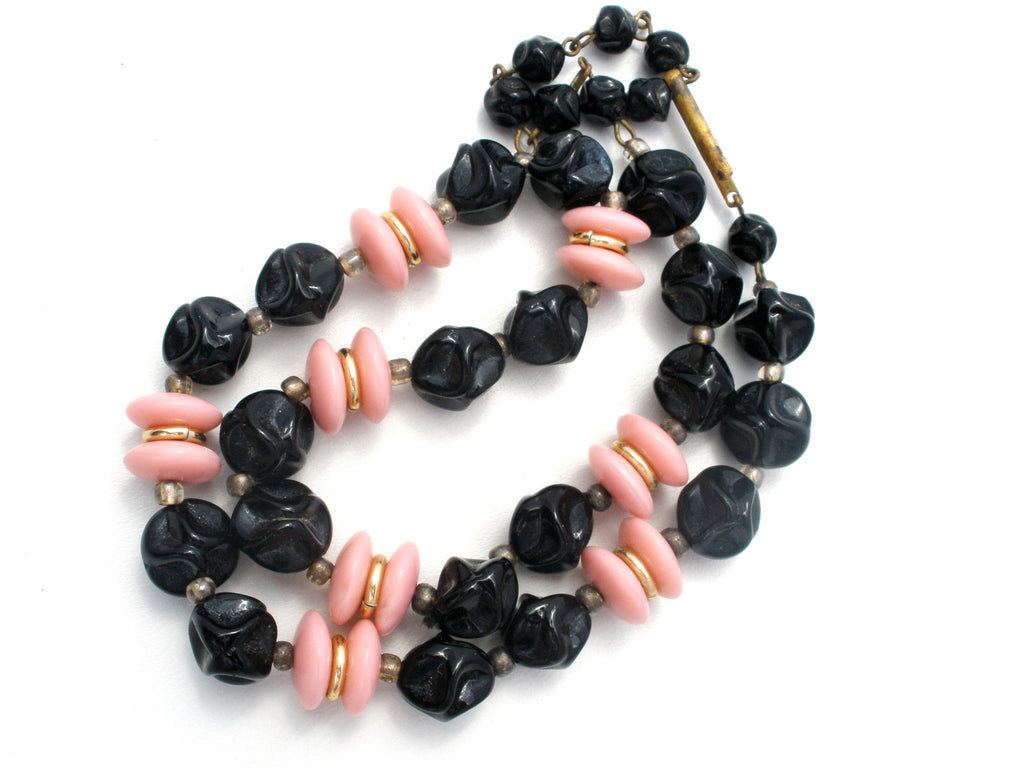 Vintage Pink & Black Glass Bead Necklace W Germany - The Jewelry Lady's Store