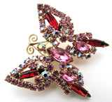 Vintage Pink Rhinestone Butterfly Brooch Pin - The Jewelry Lady's Store