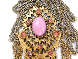 Vintage Pink Rhinestone Gold Chain Necklace - The Jewelry Lady's Store