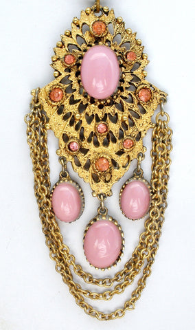 Vintage Pink Rhinestone Gold Chain Necklace