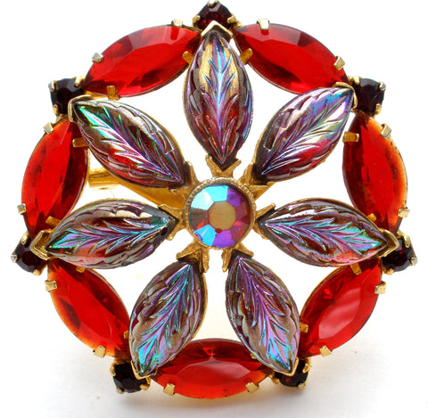 Vintage Red & Purple Rhinestone Brooch Pin