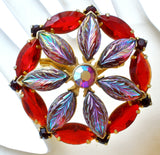 Vintage Red & Purple Rhinestone Brooch Pin - The Jewelry Lady's Store