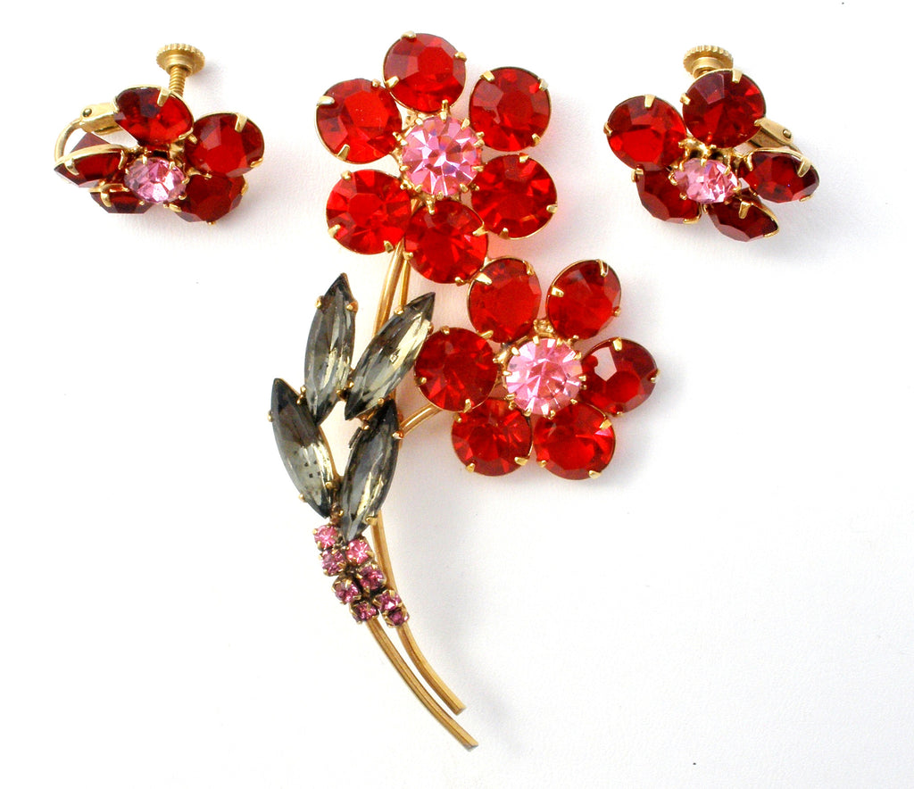 Vintage Red Rhinesone Flower Brooch & Earrings - The Jewelry Lady's Store