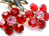 Vintage Red Rhinesone Flower Brooch & Earrings - The Jewelry Lady's Store - 9