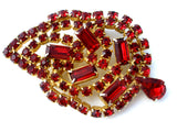 Vintage Red Rhinestone Leaf Brooch Pin - The Jewelry Lady's Store - 3