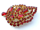 Vintage Red Rhinestone Leaf Brooch Pin - The Jewelry Lady's Store - 4