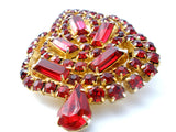Vintage Red Rhinestone Leaf Brooch Pin - The Jewelry Lady's Store - 5