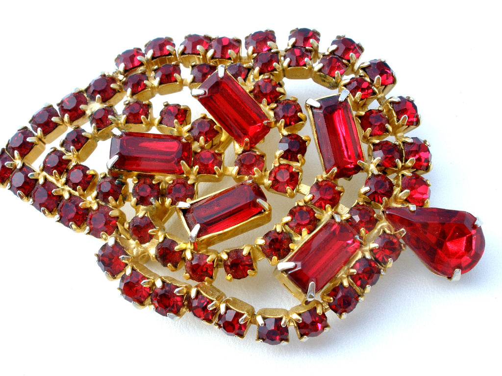 Vintage Red Rhinestone Leaf Brooch Pin - The Jewelry Lady's Store