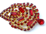 Vintage Red Rhinestone Leaf Brooch Pin - The Jewelry Lady's Store - 1