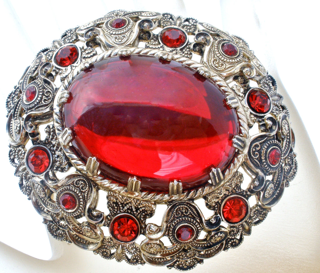 Vintage Red Rhinestone Brooch Pin W Germany - The Jewelry Lady's Store