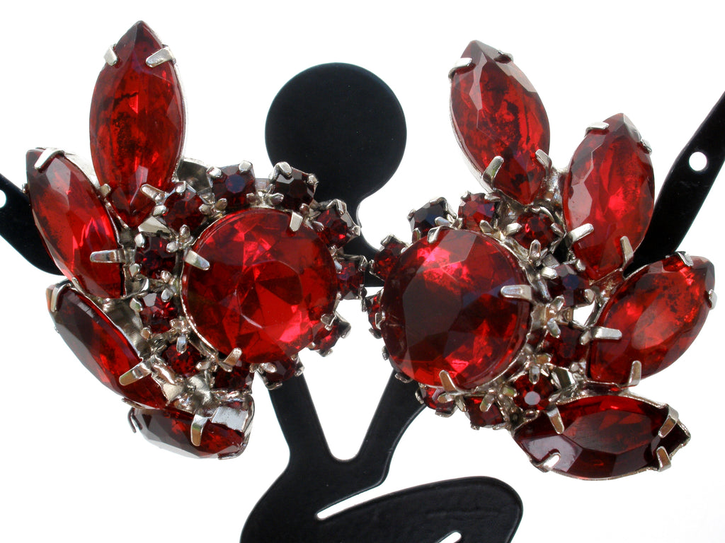 Vintage Red Rhinestone Earrings Clip On - The Jewelry Lady's Store
