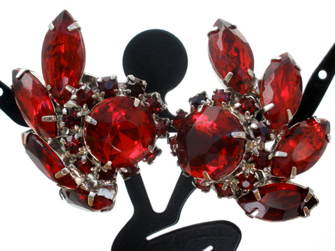 Vintage Red Rhinestone Earrings Clip On
