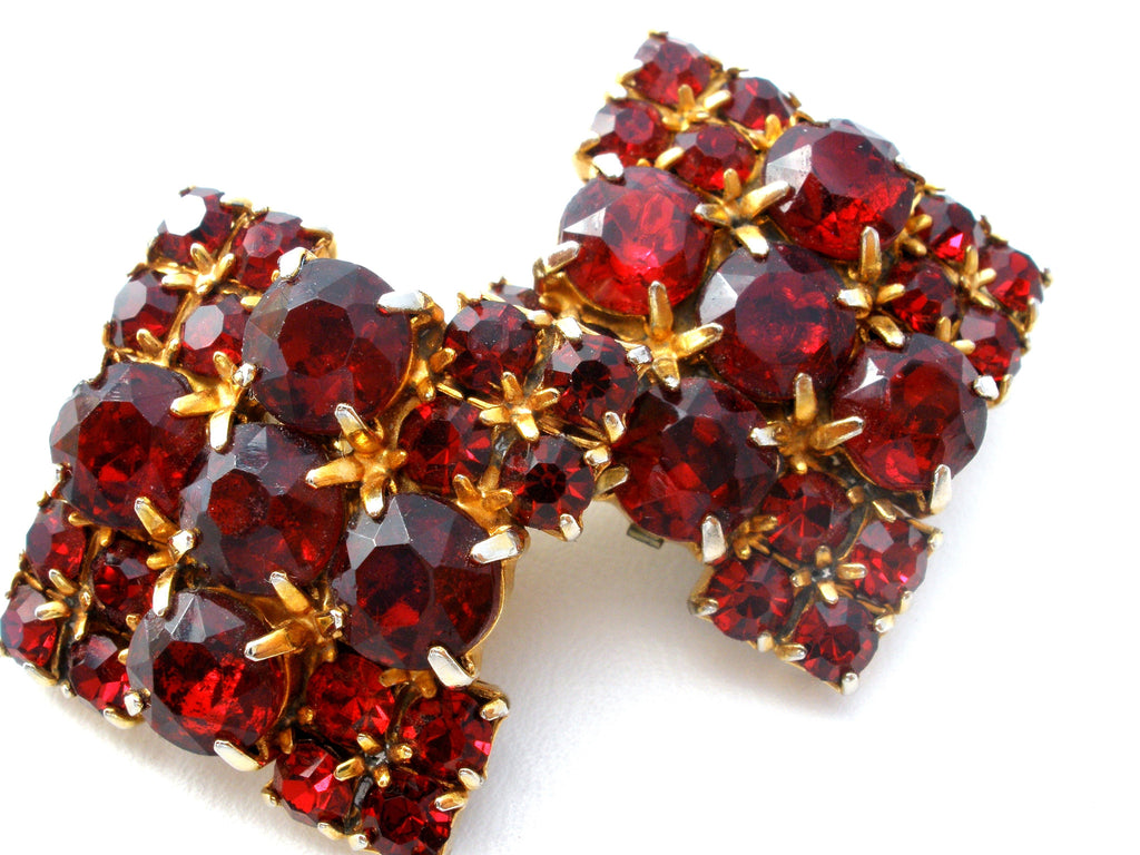 Vintage Red Rhinestone Square Earrings Clip On - The Jewelry Lady's Store