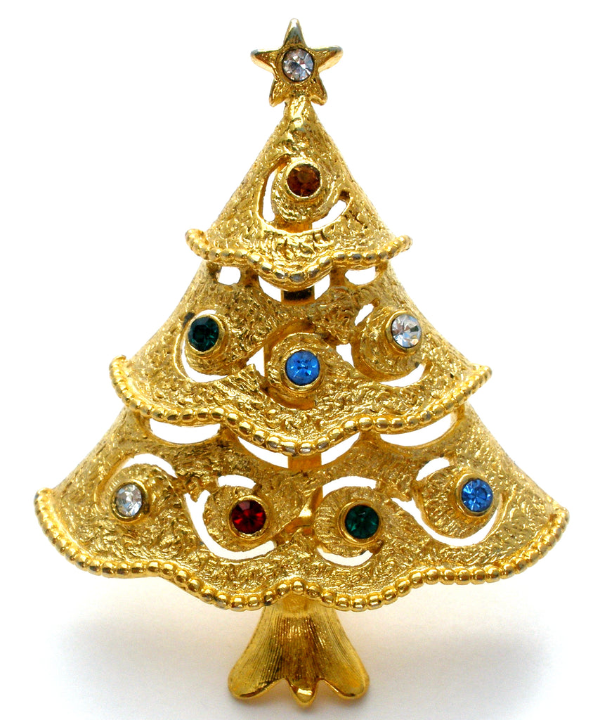 Vintage Rhinestone Christmas Tree Pin Brooch JJ - The Jewelry Lady's Store
