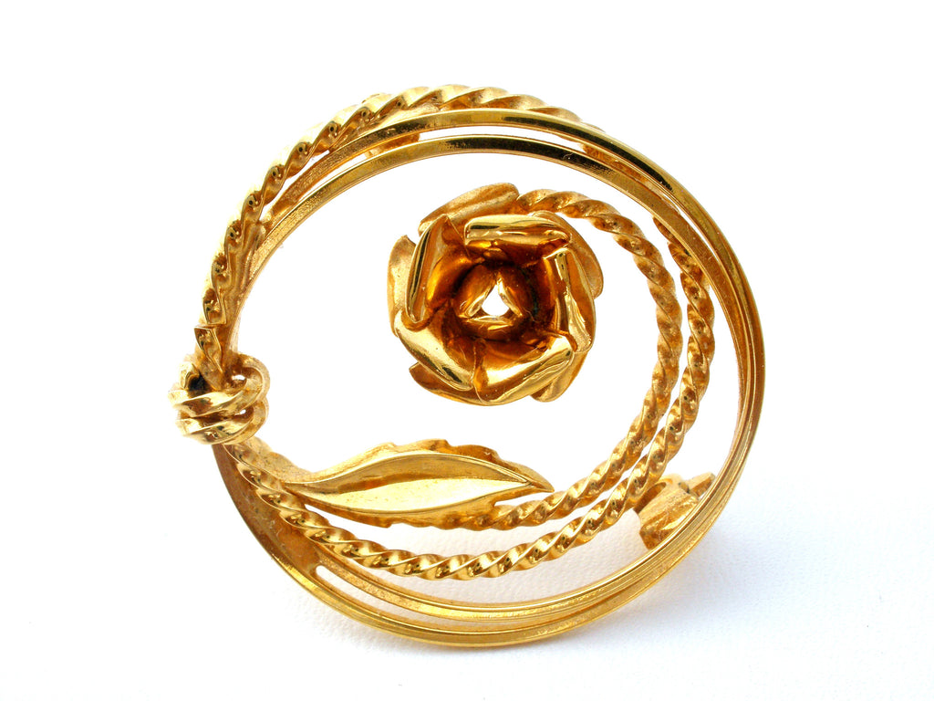 Vintage Rose Brooch Pin Gold Tone - The Jewelry Lady's Store