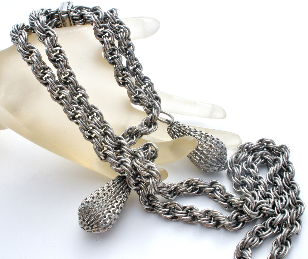Vintage Silver Tone Lariat Necklace - The Jewelry Lady's Store