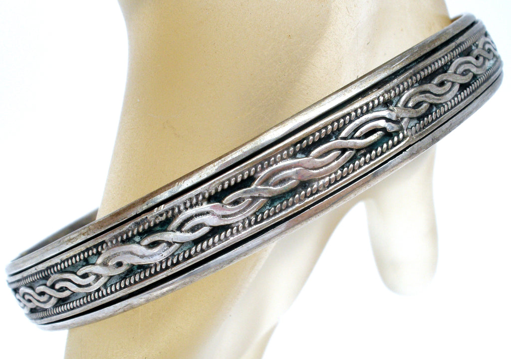 Vintage Sterling Silver Bangle Bracelet Braided - The Jewelry Lady's Store